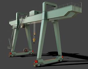 PBR Double Girder Gantry Crane V1 - Green Light 3D model