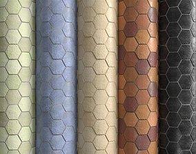 3D model Materials 10- Hexagon Tiles In 5 Color