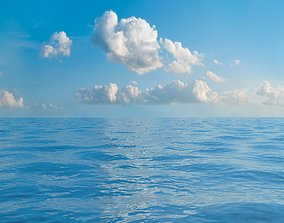 3D model Seascape background with seamless sky panorama