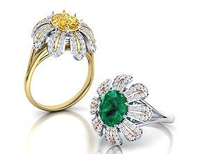 Tiffany Flower ring Oval cut gem 10x8 3D print model