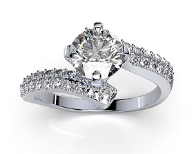 Engagement Ring Solitaire Ring CAD 3D print model