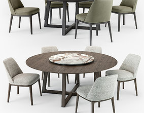 3D model Poliform Sophie chair Concorde round table set