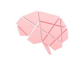 3D asset VR / AR ready Brain Symbol v1 002