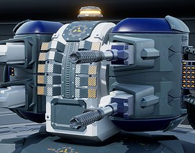 Sci-fi Turret 3D model animated