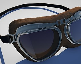 3D model low-poly Vintage Aviator Pilot Goggles