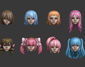 3D model hair hair style short hair