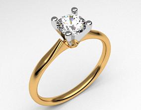 Diamond engagement ring single stone anniversary 3d