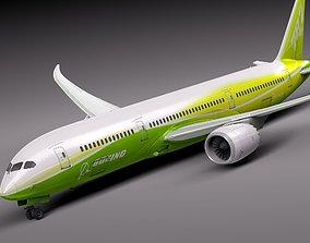 3D Boeing 787 Dreamliner Green Lemon