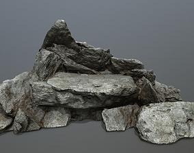 rocks mountain moss 3D model realtime