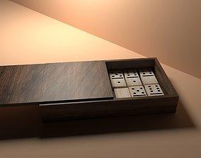 low-poly 3D Wood Dominoes Set