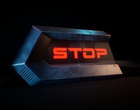 3D asset PBR Cyberpunk Road Barricade