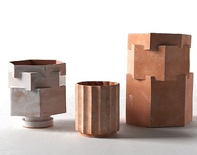 Column and Hex Planters column 3D model