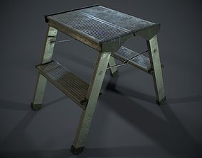 3D asset PBR Metal Stepladder