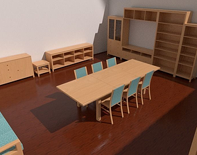 3D model Furniture set leaving dining room