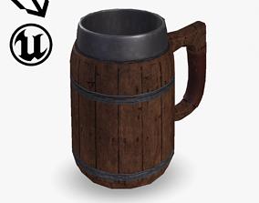 Fantasy Wooden Beer Mug 3D asset VR / AR ready