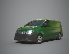 3D model game-ready Generic Minivan Green