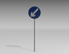 Keep left sign 3D model