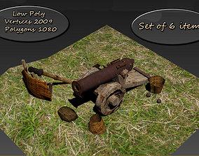 3D asset Low Poly set gun crew cannons