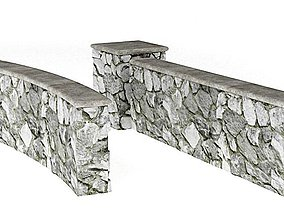3D model Grey Stone Wall And Column