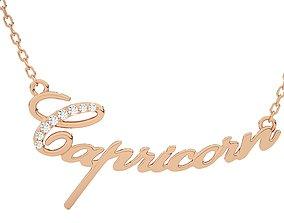 Capricorn Zodiac Pendant Necklace 3dm stl render detail