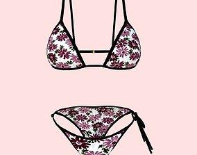 3D model sexy FlowerPrint bikini P06
