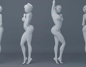 Short hair student girl wearing 3D printable model 2