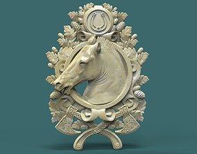 Horse head medallion 3d stl model for cnc 3D print