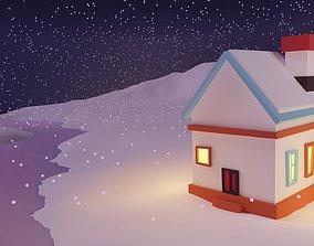 Winter Season Christmas House 6 3D asset