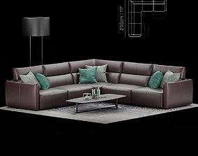 3D Natuzzi Galaxy sofa corner