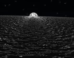 night scene beautiful moon 3D