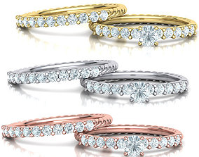 Rope design Wedding set with discount 3D model rope-band