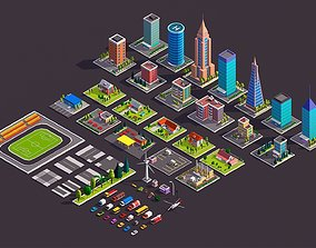 Polygonia City Buildings Cars and Elements Pack 3D model
