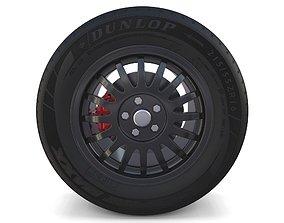 Generic Dark Alloy Wheel and Brake 3D model