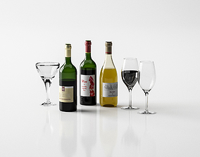 Realistic Wine Bottles and Glasses 3D model