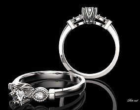 Engagement ring with round center stone 3D