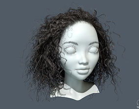3D model PBR Curly realtime hair
