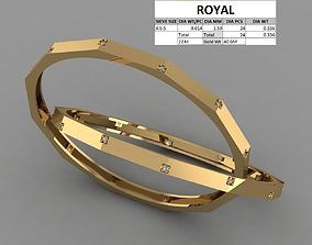 3D printable model Elegant 12 front edge gold bangle for