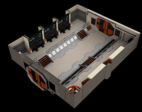 3D asset Low-Poly Sci-Fi Control Room