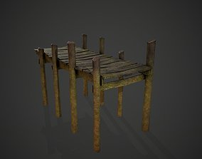 Old wooden dock 3D asset game-ready