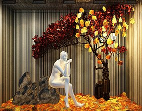 3D Deciduous maple Leaf shopping mall window