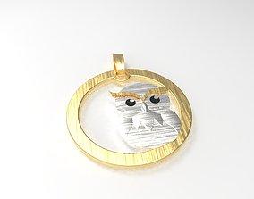 simple owl pendant 15mm 3D printable model