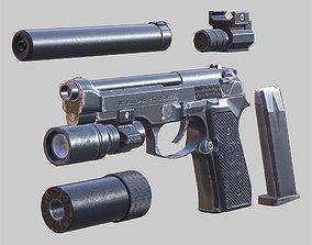 3D asset realtime Modern firearms - Beretta M9 animated