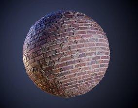 3D model Brick Wall Red Grunge Seamless PBR Texture