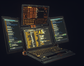3D model Cyberpunk Hacker Laptop