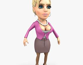 Busty Secretary Cartoon Character 3D