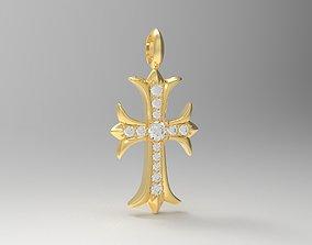 3D print model Chrome heart cross diamond pendant