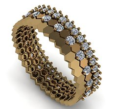 3D model Collection of honeycomb rings with and without