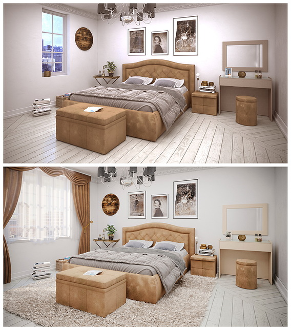 Bed in the modern bedroom