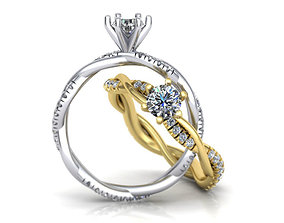 Petite Twist Diamond Engagement Ring 3D printable model 2