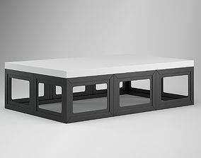 3D White Black Coffee Table